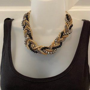 Braided Gold and Beaded Necklace